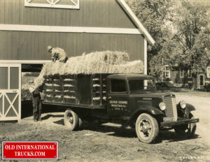"1935 International Truck Model C-35-hauling hay. <div class=""download-image""><a href=""https://oldinternationaltrucks.com/wp-content/uploads/2019/05/1935-International-Truck-Model-C-35-hauling-hay..jpeg"" download><i class=""fa fa-download""></i> <span class=""full-size""></span></a></div>"