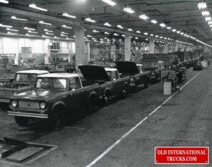 "1962 Scout 80 factory assembly line <div class=""download-image""><a href=""https://oldinternationaltrucks.com/wp-content/uploads/2021/02/1962-Scout-80-factory-assembly-line.jpg"" download><i class=""fa fa-download""></i> <span class=""full-size""></span></a></div>"
