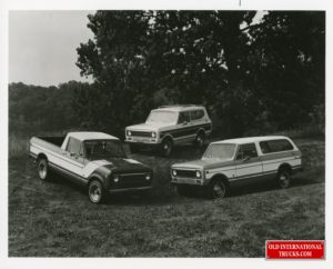 """Internationals Harvester's Scout Family of Four-Wheel-drive Vehicles for 1977 include: Terra pickup (left) 11 cu. ft. of behind-seat storage and six-ft. box; Traveler station wagon (right)-- a 118 in. wheelbase hatchback model; and the Scout II -- a 100 in. w.b. sport utility compact. <div class=""""download-image""""><a href=""""https://oldinternationaltrucks.com/wp-content/uploads/2021/02/Scout-Family-of-Four-Wheel-Drive-Vehicles-for-1977-include-terra-pickup-Left-Traveler-station-wagon-right-1.jpg"""" download><i class=""""fa fa-download""""></i> <span class=""""full-size""""></span></a></div>"""